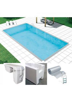 Easy kit basic, kit costruzione piscina fai da te 3 x 14 x h 1.50, skimmer