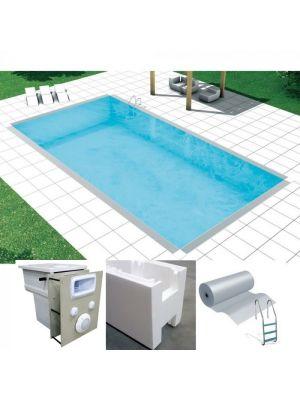 Easy kit design, kit piscina fai da te 6 x 6 x h 1.50, skimmer