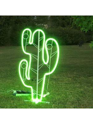 Decorazione luminosa Cactus h 120 cm, neon bifacciale, led verde