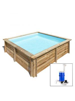 CITY 200 x 200 x h 65 - filtro a CARTUCCIA - piscina fuori terra QUADRATA in legno sistema ad incastro - Gré
