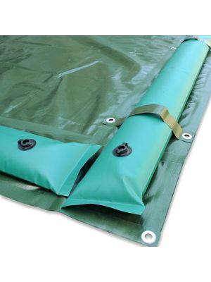Copertura invernale 7 x 11 m per piscina 6 x 10 m - con tubolari perimetrali e fasce anti ribaltamento