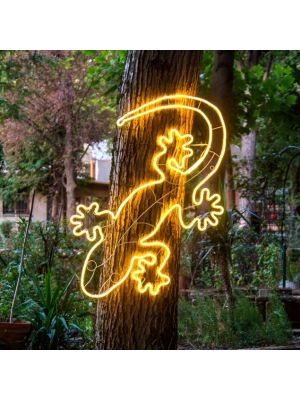 figura luminosa neon led geko per feste estive