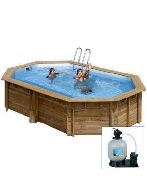 Acquista da Zavattishop.com la piscina in legno garanzia 10 anni GRENADE 403x303xh116 - filtro SABBIA - piscina fuori terra in legno sistema ad incastro - Gré.