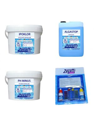 Kit Calcium 30 kg: 10 kg Ipoklor + 10 lt Algastop + 10 kg Ph Minus + Test Kit omaggio
