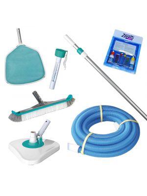 Kit pulizia MINI per piscina completo di ASTA TELESCOPICA e CANNA GALLEGGIANTE