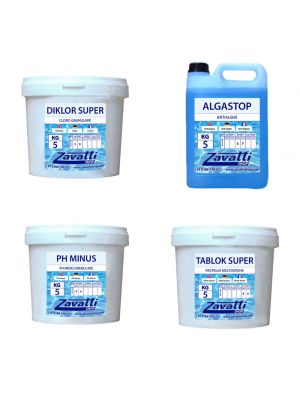 Summer Kit: 5 kg Diklor + 5 kg Ph Minus + 5 lt Algastop + 5 kg Tablok Super