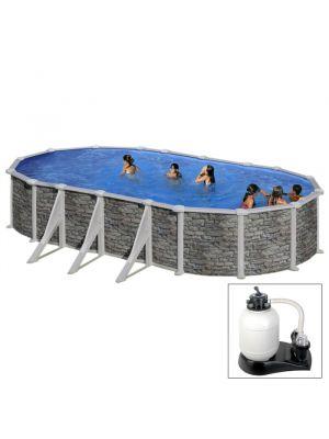 CERDEÑA 730 x 375 x h 120 - filtro SABBIA - Piscina fuoriterra rigida in acciaio fantasia pietra Dream Pool - Grè