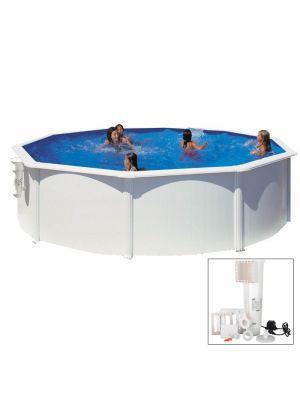 BORA BORA - Ø 350 x h120 cm - filtro CARTUCCIA - Piscina fuoriterra rigida in acciaio colore bianco Dream Pool - Grè