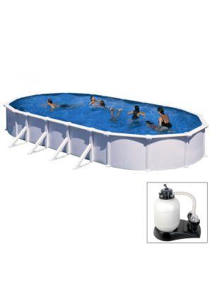 ATLANTIS - 1000 x 550 x h132 cm - filtro SABBIA - piscina fuoriterra rigida in acciaio colore bianco Dream Pool - Grè