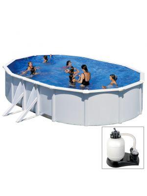 ATLANTIS - 500 x 300 x h132 cm - filtro SABBIA - piscina fuoriterra rigida in acciaio colore bianco Dream Pool - Grè