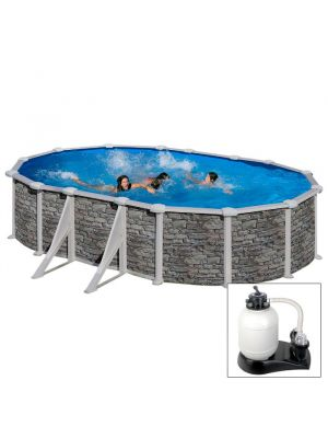CÓRCEGA 500 X 300 X H132 - filtro SABBIA - Piscina fuoriterra rigida in acciaio fantasia pietra Dream Pool - Grè.