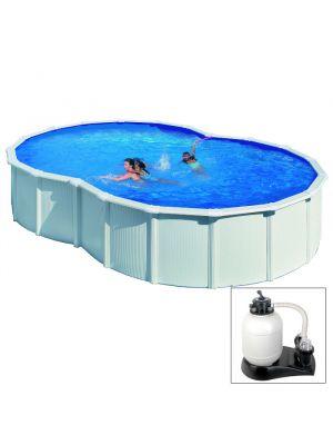 VARADERO - 640 x 390 x h120 cm - filtro SABBIA - piscina fuoriterra rigida in acciaio colore bianco Dream Pool - Grè