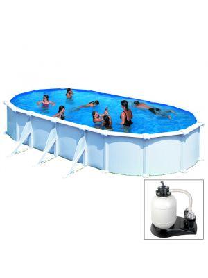 ATLANTIS - 730 x 375 x h132 cm - filtro SABBIA - piscina fuoriterra rigida in acciaio colore bianco Dream Pool - Grè