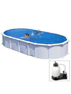 HAITI - 800 x 470 x h 132 cm - filtro SABBIA - piscina fuoriterra rigida in acciaio colore bianco - Grè