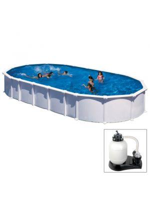 HAITI - 915 x 470 x h 132 cm - filtro SABBIA - piscina fuoriterra rigida in acciaio colore bianco - Grè