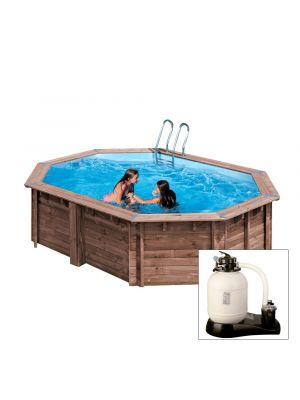BAMBU, piscina fuori terra in legno Gré, 487 x 287 x h 127, filtro SABBIA