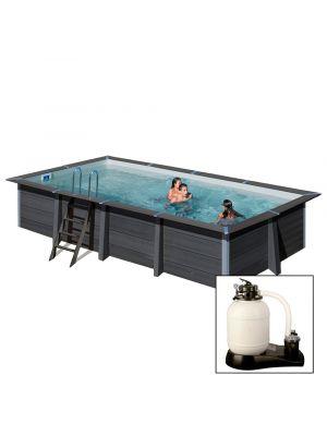 AVANTGARDE 606x326x h124 cm, con FARO A LED, filtro sabbia, piscina fuoriterra in composito