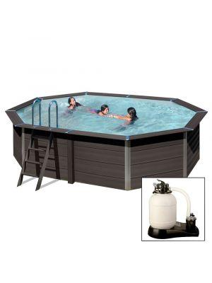 AVANTGARDE 664x386x h124 cm, con FARO A LED, filtro sabbia, piscina fuoriterra in composito