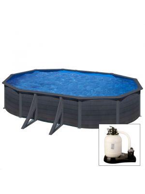 GRANADA 610 x 375 x h 132 - filtro SABBIA - Piscina fuoriterra rigida in acciaio fantasia GRAFITE Dream Pool - Grè