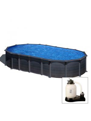 CAPRI 730 x 375 x h 132 - filtro SABBIA - Piscina fuoriterra rigida in acciaio fantasia GRAFITE Dream Pool - Grè.