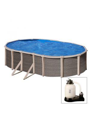 Acquista la tua piscina FUSION POOL - Piscina fuoriterra IBRIDA 760 x 460 x h 135 cm - filtro a SABBIA - in acciaio e polipropilene.