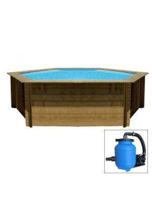 LILI 2, piscina fuori terra in legno Gré, ø 242 x h 104, filtro AQUALOON