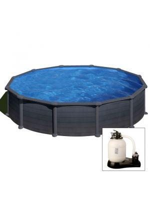 GRANADA Ø 550 x h 132 - filtro SABBIA - Piscina fuoriterra rigida in acciaio fantasia GRAFITE Dream Pool - Grè