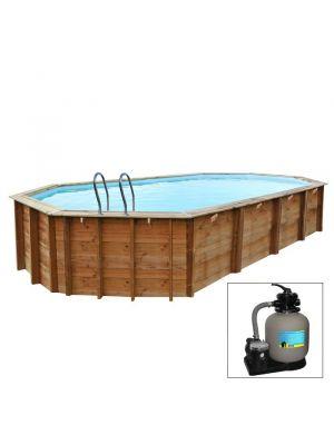 SEVILLA, piscina fuori terra in legno Gré, 805 x 407 x h 142