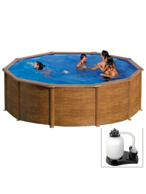 MAURITIUS Ø 550 x h 132 - filtro SABBIA - Piscina fuoriterra rigida in acciaio fantasia legno Dream Pool - Grè