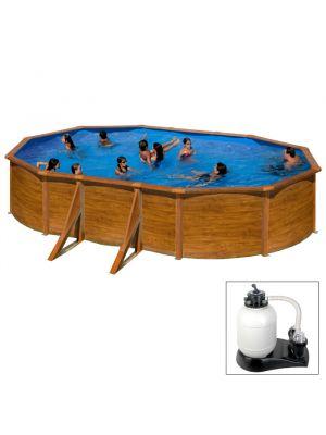 MAURITIUS 610 x 375 x h 132 - filtro SABBIA - Piscina fuoriterra rigida in acciaio fantasia legno Dream Pool - Grè