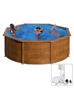 SICILIA Ø 300 x h 120 - filtro cartuccia - Piscina fuoriterra rigida in acciaio fantasia legno Dream Pool - Grè