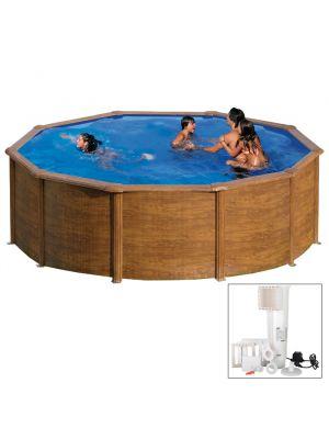SICILIA Ø 460 x h 120 - filtro cartuccia - Piscina fuoriterra rigida in acciaio fantasia legno Dream Pool - Grè