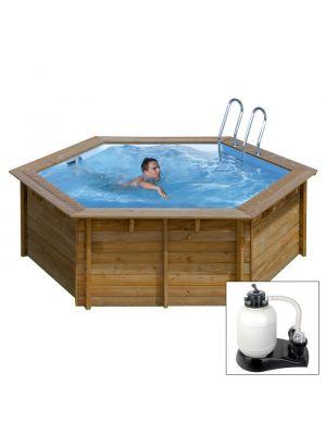 VANILLE 2, piscina fuori terra in legno Gré, ø 343 x h 116, filtro SABBIA