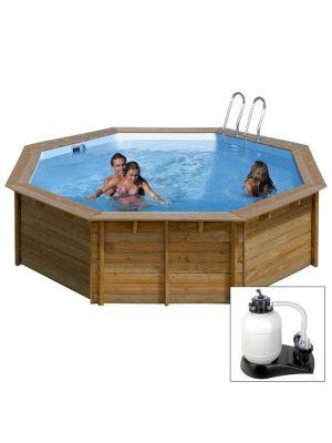 VIOLETTE 2, piscina fuoriterra in legno Gré, ø 442 x h 124, filtro SABBIA