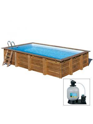EVORA 552 x 352 x h 130 - filtro a SABBIA - piscina fuori terra RETTANGOLARE in legno sistema ad incastro - Gré