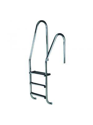 Scaletta modello Standard asimmetrico a tre gradini Luxe per piscina interrata a skimmer Astral in acciaio inox