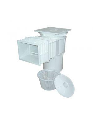 Skimmer bocca standard stretta e prolunga in ABS 17,5 Lt per piscina in cemento Astralpool bianco e cestello
