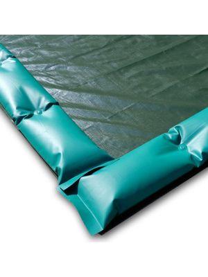 Telo invernale 15 x 7 con tubolari antivento antiribaltamento ad appoggio - per piscina 14 x 6