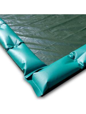 Telo invernale 13 x 5 con tubolari antivento antiribaltamento ad appoggio per piscina 12 x 4