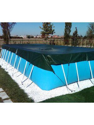 Telo di copertura invernale 8,00 x 14,00 m per piscina fuoriterra in pvc 6,40 x 13,10 m