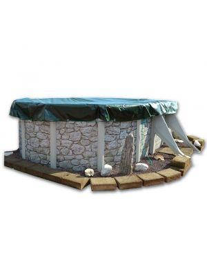 Copertura invernale / 4 stagioni ottagonale 6,5 x 5 m per piscina fuoriterra con elastico