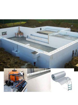 kit accessori PROFESSIONAL costruzione / ristrutturazione piscina 4 x 8 m a skimmer