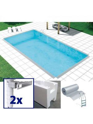Easy kit Skimmer Kart, kit costruzione piscina fai da te 5 x 11 x h 1.50, skimmer filtrante