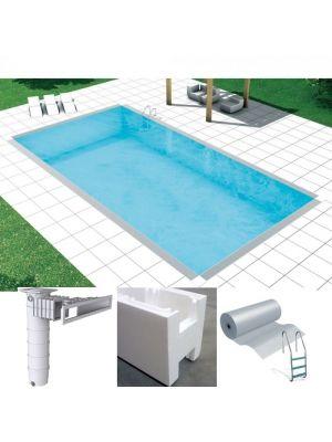 Easy kit Skimmer Kart, kit piscina fai da te 4 x 7 x h 1.50, skimmer filtrante