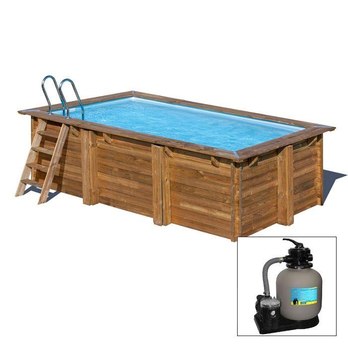 1358dc6a7dda MARBELLA 379 x 229 x h 116 - filtro a SABBIA - piscina fuori terra  RETTANGOLARE in legno sistema ...