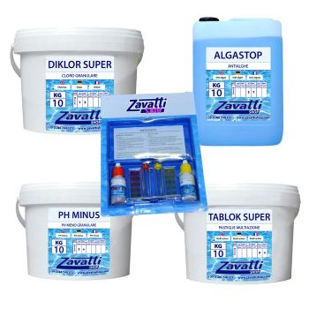 Summer Kit Mega: 10 kg Diklor + 10 kg Ph Minus + 10 lt Algastop + 10 kg Tablok Super + test kit