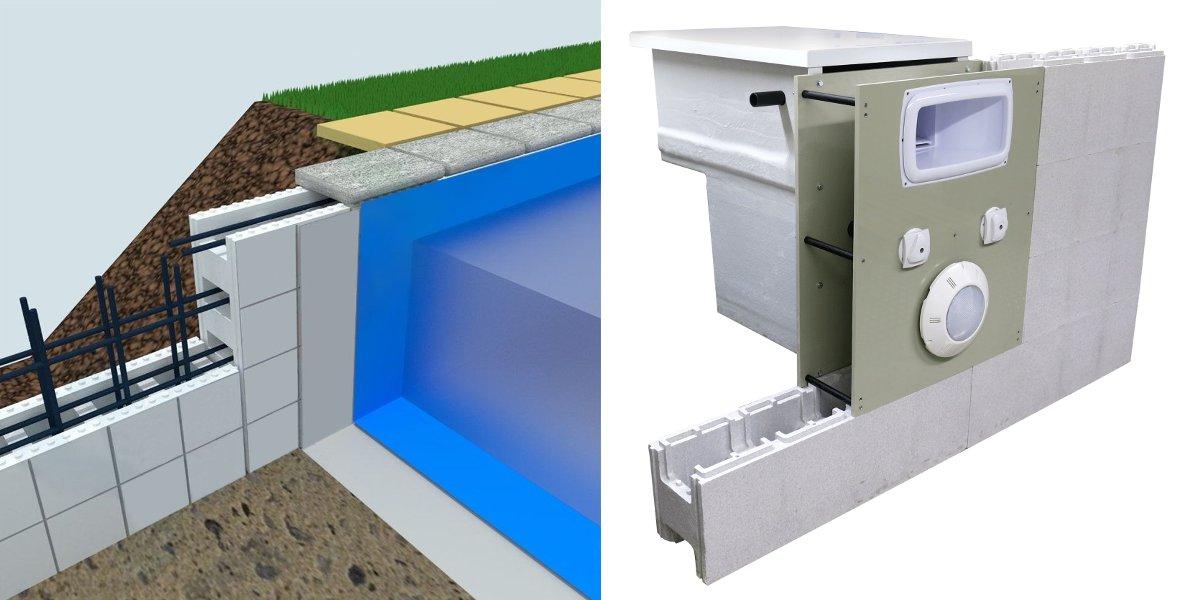 Struttura piscina con casseri e muro filtrante
