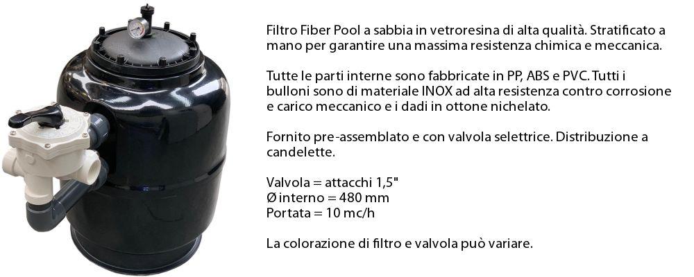 Dettagli filtro a sabbia 10 mc/h in dotazione con il kit accessori professional