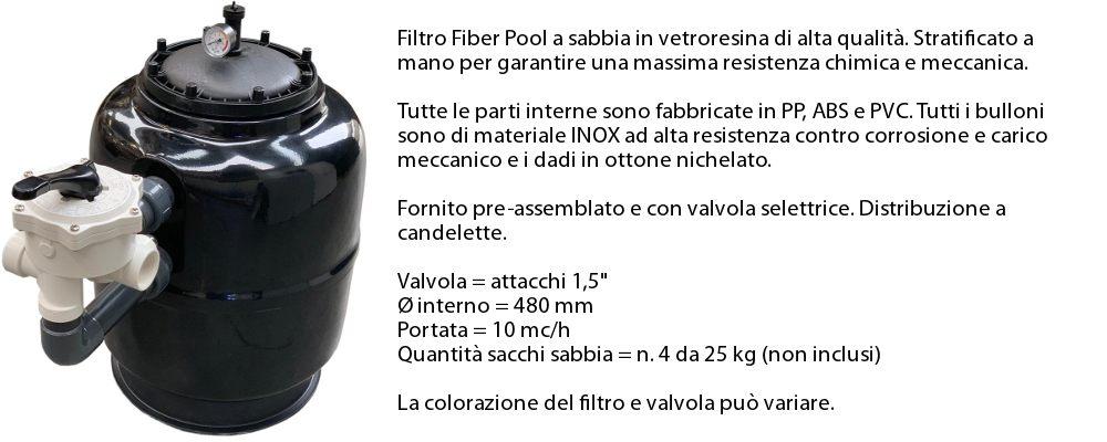 Filtro a sabbia da 15 mc/h in dotazione con il kit accessori completamento piscina professional