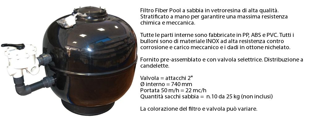 Filtro a sabbia 22 mc/h per piscina interrata